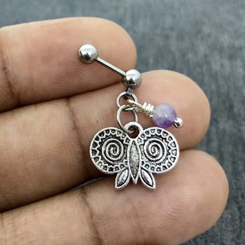316L Surgical Stainless Solid Steel Owl head, Amethyst 18g, 16g, 14g Helix, cartilage, tragus earring