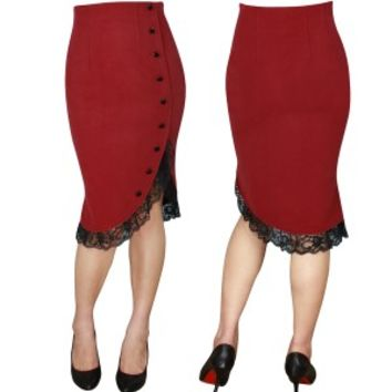 Red Ruffle Pin Up Skirt