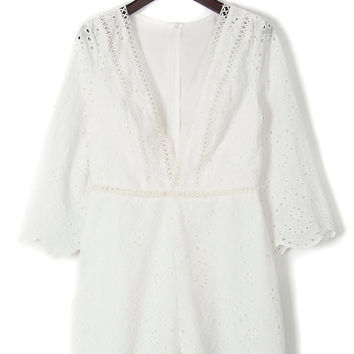 White V-Neck Laser Cut Scallop Romper