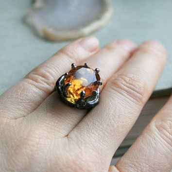 citrine ring, citrine gemstone, adjustable ring, raw ring, tiffany method, organic ring, natural stone,statement ring, valentine, eco ring