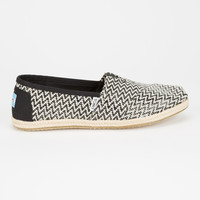 TOMS Black Woven Womens Classic Slip-Ons | Casuals & Flats