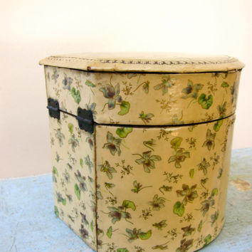 Rare Victorian Celluloid Collar & Cuff Box Extraordinary Antique Lady's or Gentleman's w/Portraits Floral Violets Pattern