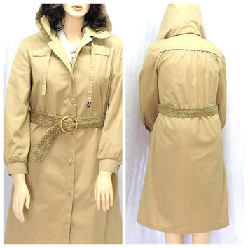 Trench coat / size L 13 / 14 /  vintage London Fog rain coat / hooded tan khaki trench coat / womens trench coat