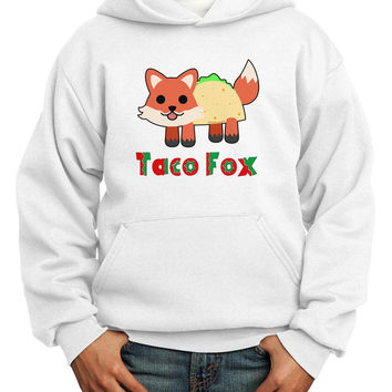 Cute Taco Fox Text Youth Hoodie Pullover Sweatshirt