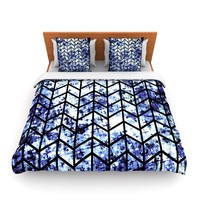 "Ebi Emporium ""Chevron Wonderland II"" Blue Black Lightweight Duvet Cover"
