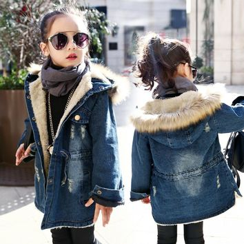 Winter Girls Long Denim Jacket Plus Parka Teen Girl Fur Collar 2018 Hooded Coat Autumn Kids Thicken Outerwear 4 6 8 10 12 years