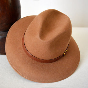 Camel Safari Fedora - Wide Brim Pure Merino Wool Felt Fedora / Indiana Jones Hat - Men Women