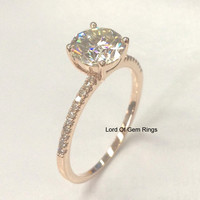Round Forever Brilliant Moissanite Engagement Ring Pave Diamond Wedding 14K Rose Gold 6.5mm