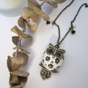 Owl Necklace - White by 636designs