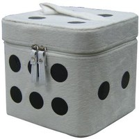 Cosmetic Case Makeup Case - White Fuzzy Dice