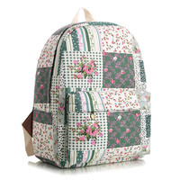 Striped Stripes Cute Canvas Korean Lovely Animal Floral Backpack = 4887976964