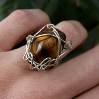 Tigers Eye & Sterling Silver Wire Ring