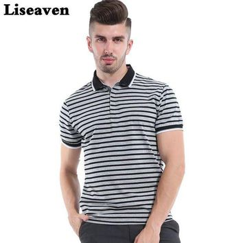 DCCKKFQ Liseaven 2017 Men Striped polo shirt solid Tops Tees Shirt Summer Casual Clothing Cool Tee Camisa Polo Masculina