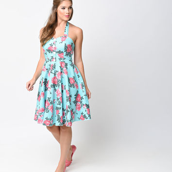 1950s Style Mint & Pink Rose Floral Halter Flare Dress