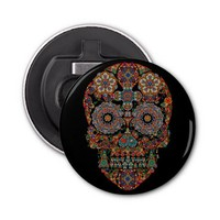 Flower Sugar Skull Button Bottle Opener