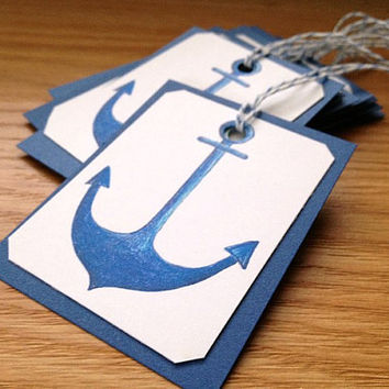 Set of 8 Blue Anchor Handmade Paper Gift Tags for Nautical Theme Party or Shower Favors