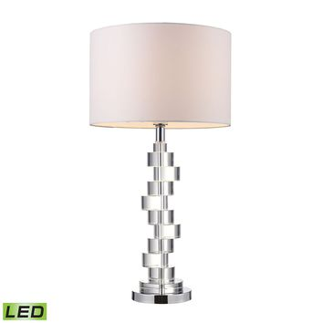 Armagh LED Table Lamp In Clear Crystal And Chrome With Pure White Faux Silk Shade