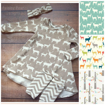Baby Children Organic 3pc Gift Set Cute High/Low Dress Leg Warmers and Matching Headwrap  in 4 different choices Birch Organic Knit Fabrics