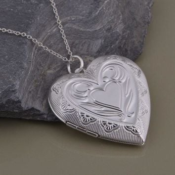 ON SALE - Lovely Embossed Oversize Sterling Silver Heart Locket Necklace