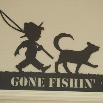 Boy And His Dog 16 Gauge Plasma Cut Gone Fishin' Metal Wall Art