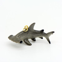 1 - Porcelain Hammerhead Shark Pendant Hand Painted Glaze Animal Small Ceramic Shark Bead Jewelry Supplies Little Critterz Porcelain (CA099)