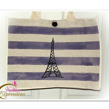 Customized Large Jute Fibre Cotton Tote Bag with Heat Transfer Vinyl - Purple Stripes With Eiffel Tower - book bag/shopping bag/grocery bag