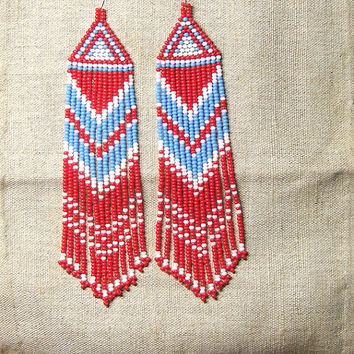 Beaded Native American  Earrings  Inspired. White Blue Red Earrings. Dangle  Earrings.Long Earrings.  Beadwork.
