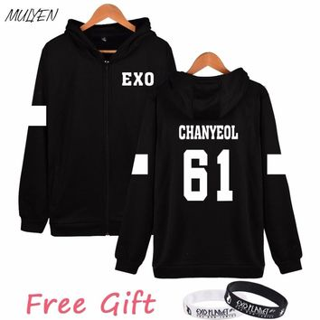 MULYEN Autumn Winter EXO Kpop Member Number Print Hoodies Women Fleece Harajuku Zipper Sweatshirt Women's Hoodie Sudaderas