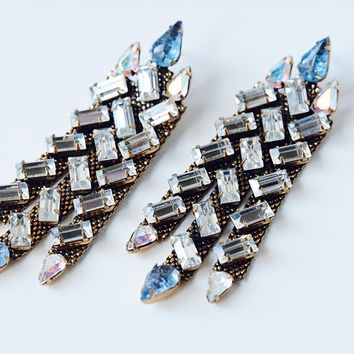 Free People Jinhai Baguette Crystal Earrings
