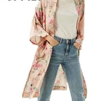 Women Summer Long Sleeves Floral Kimono Cardigans Female Pink Blue Flower Printed Loose Coat with Belt Japanese Style Kimono
