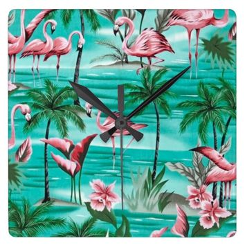 pretty pink flamingos square wall clock