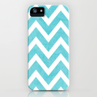 aqua chevron iPhone Case by her art | Society6
