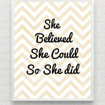 8x10 She Believed She Could Print, Inspirational Printable, Poster, Typography Art, Nursery Decor, Peach Gold Art, Instant Digital Download