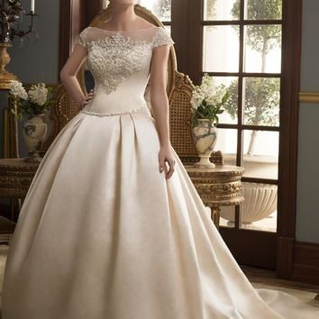 Casablanca Bridal 2164 Cap Sleeve Beaded Satin Ball Gown Wedding Dress