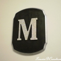 GLITTER LETTER PLAQUE - Handpainted Black w/ Silver Glitter Letter and Glitter Paint Trim