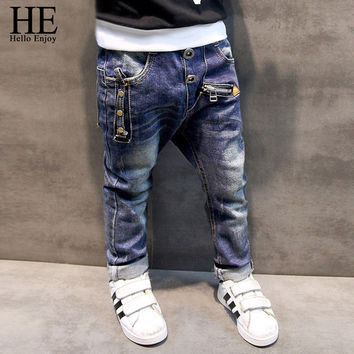 HE Hello Enjoy Boys pants jeans  Fashion Boys Jeans for Spring Fall Children's Denim Trousers Kids Dark Blue Designed Pants
