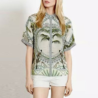 Tropical Bird Print Button Down Pointed Flat Collar Short Sleeve Blouse