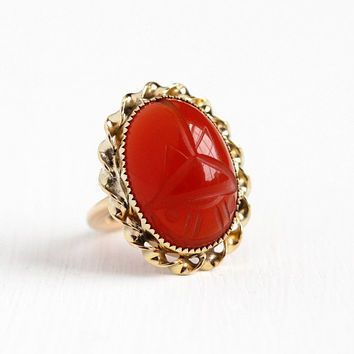 Vintage 12k Rosy Yellow Gold Filled Carved Carnelian Scarab Ring - Retro Adjustable Egyptian Revival Beetle Large Red Gem Statement Jewelry