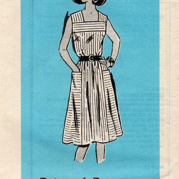Retro Sewing Pattern Mail Order Parade Casual Summer Dress Square Neckline Full Skirt Kitchen Apron Sundress Uncut Bust 34