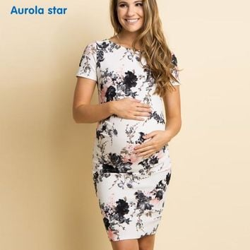 Summer Woman Dress Floral Print Pregnancy Dresses For Pregnant Women Casual Boat Neck Maternity Dresses  New Party Dress