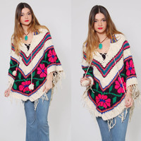 Vintage 70s KNIT Poncho Cream Wool FLORAL Hippie Cape Chevron Stripe Boho Poncho Floral Sweater