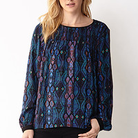 LOVE 21 Southwestern Sweet Swing Top Navy/Black