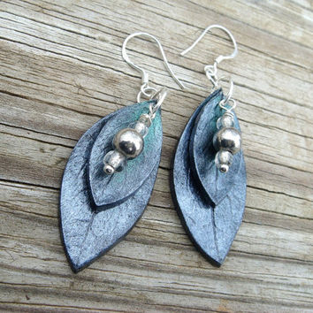 Green and Silver Leaf Earrings  Polymer Clay and by JustClayin
