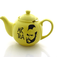 Mr.  T Teapot in yellow, mr tea, with metal tea strainer basket, stoneware upcycled