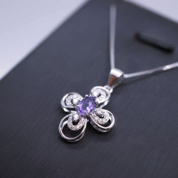 Ametyst Necklace Sterling Silver, CZ Flower Cross Necklace, Natural Amethyst Platinum Coated 925 Silver Flower Pendant