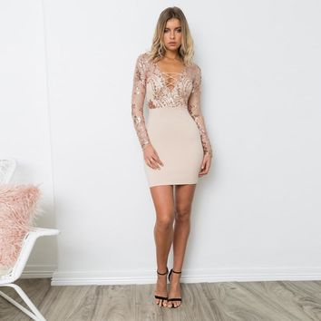 Women gold Sequin dress 2017 Sexy party long sleeve v neck bodycon vestidos mujer Sequined tie up midi pencil dresses