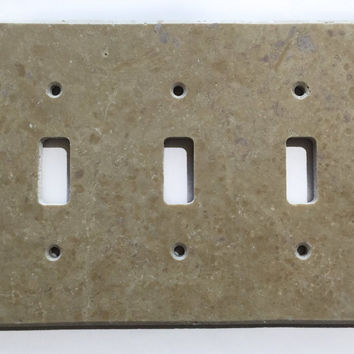Light Walnut Travertine Triple Toggle Switch Wall Plate / Switch Plate / Cover - Honed