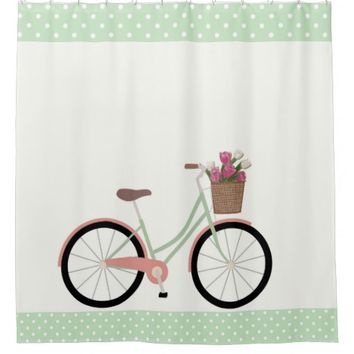 Sweet Peach and Mint Green Birthday Cruiser Shower Curtain