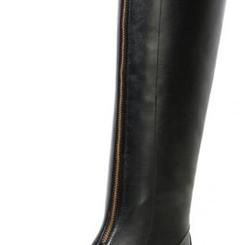 Women Autumn Winter Full Grain Leather Flats Round Toe Zipper Buckle Fashion Knee High Boot Size 34-39 SXQ0929