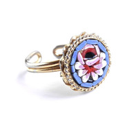 Vintage Micro Moscaic Flower Ring - Vintage Adjustable Costume Jewelry / Glass Art